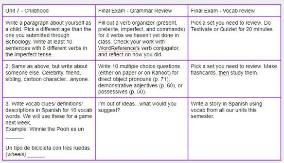 Exam Review Choice Boards for Spanish 1 and 2 | Ms  Brown